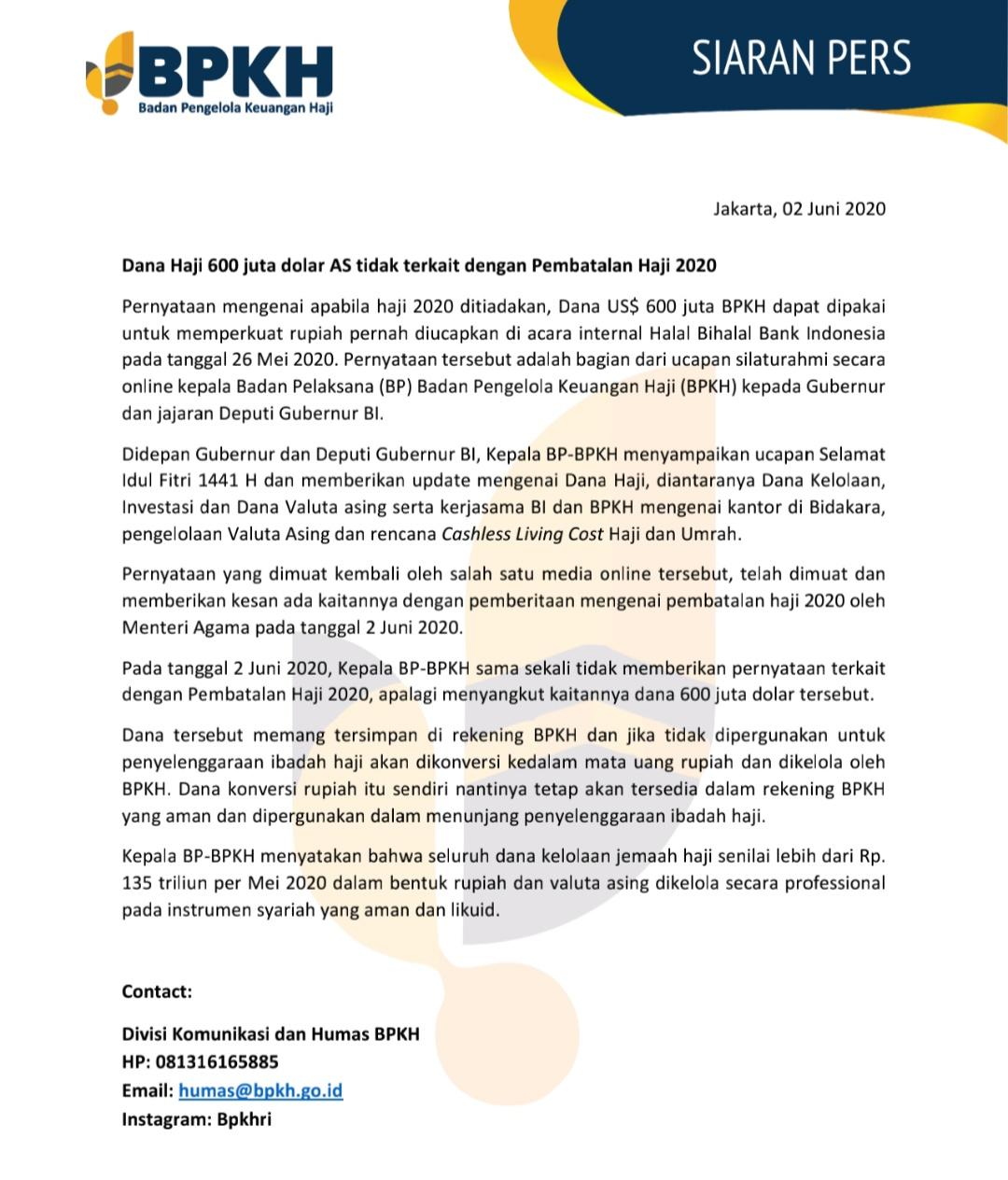 Dana Haji 600 Juta Dolar As Tidak Terkait Dengan Pembatalan Haji 2020
