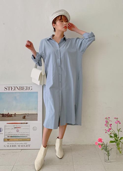 Buttoned Front Midi Shirt Dress