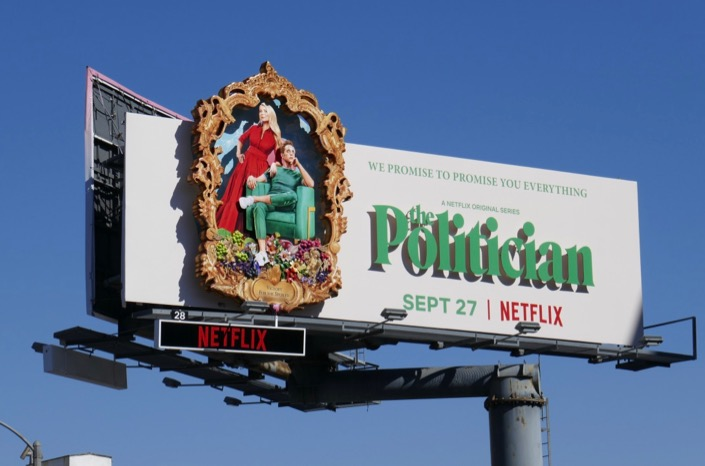 Politician 3D series premiere billboard