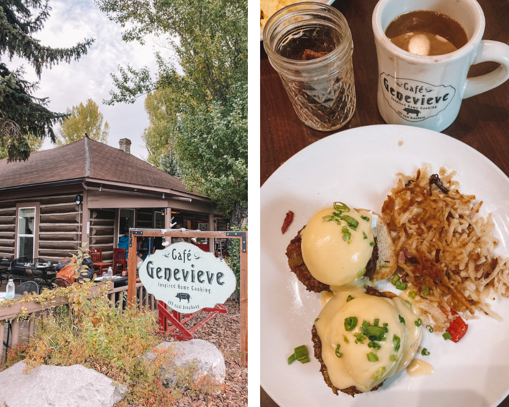 Cafe Genevieve is a homestyle restaurant in a log cabin off the square in Jackson Hole, Wyoming