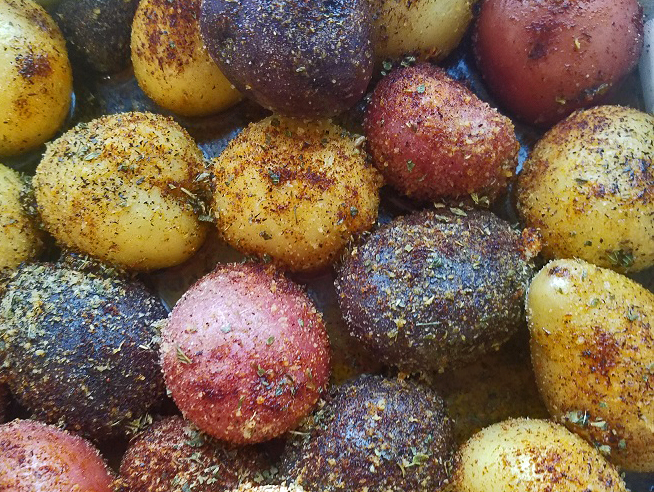 these are boiled salt and vinegar tri colorful potatoes small ones