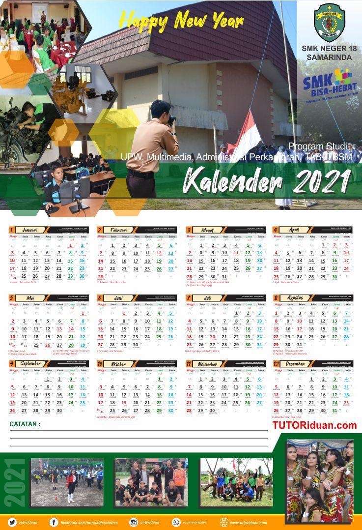Desain Kalender Dinding 2021 Format 12 Bulan Photoshop ...