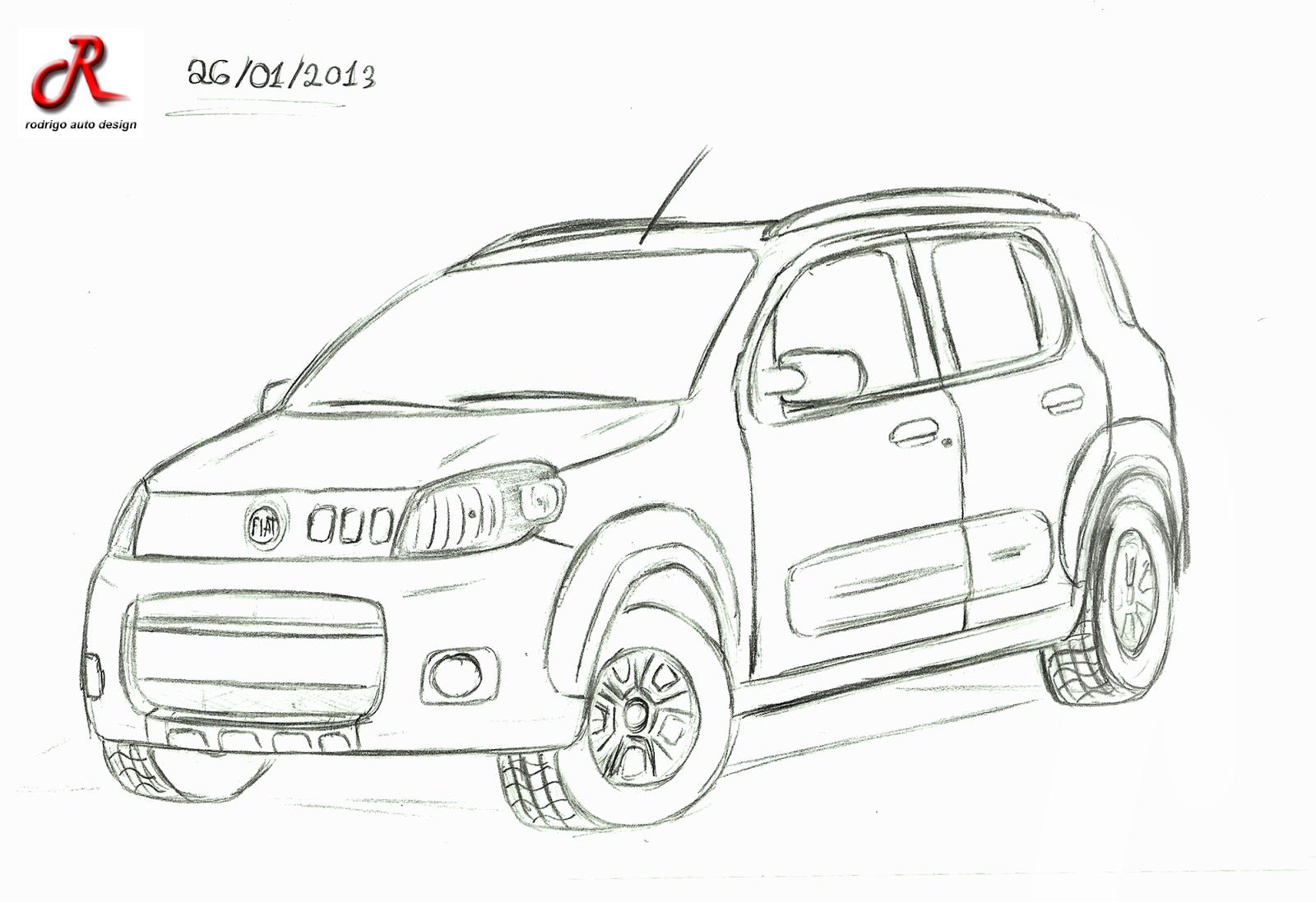 Rodrigo auto Design: Desenhos a mão : Fiat Uno Way