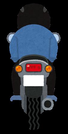 バイクに乗る人の後ろ姿のイラスト