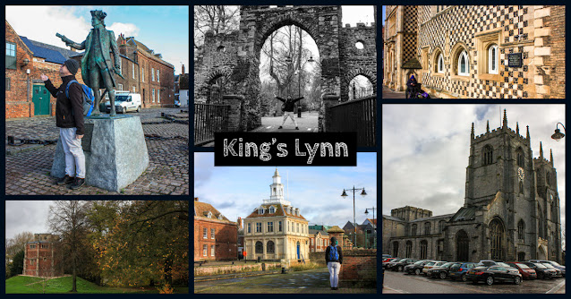 Collage of photos showing a statue of George Vancouver, Neil standing under an old archway along Broad Walk, Red Mount Chapel, the Custom House and the Minster,