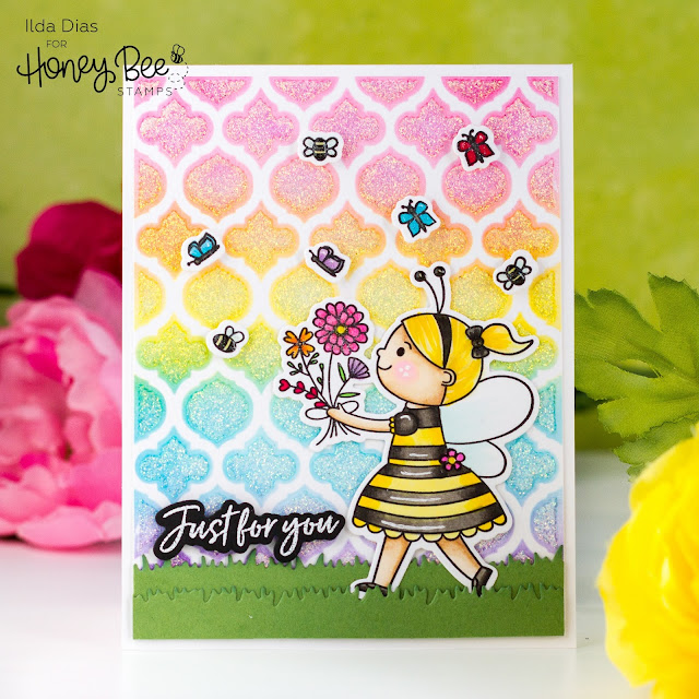 Quatrefoil Stencil,Bee Young Free Bee, Just for you,Honey Bee Stamps,Spring Bliss,Sneak Peeks,Rainbow blending,Card Making, Stamping, Die Cutting, handmade card, ilovedoingallthingscrafty, Stamps, how to,
