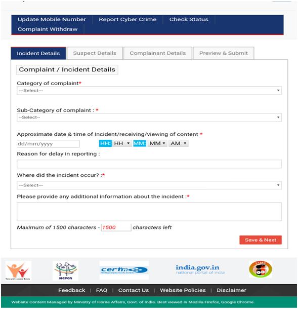 Cyber Crime Portal Details