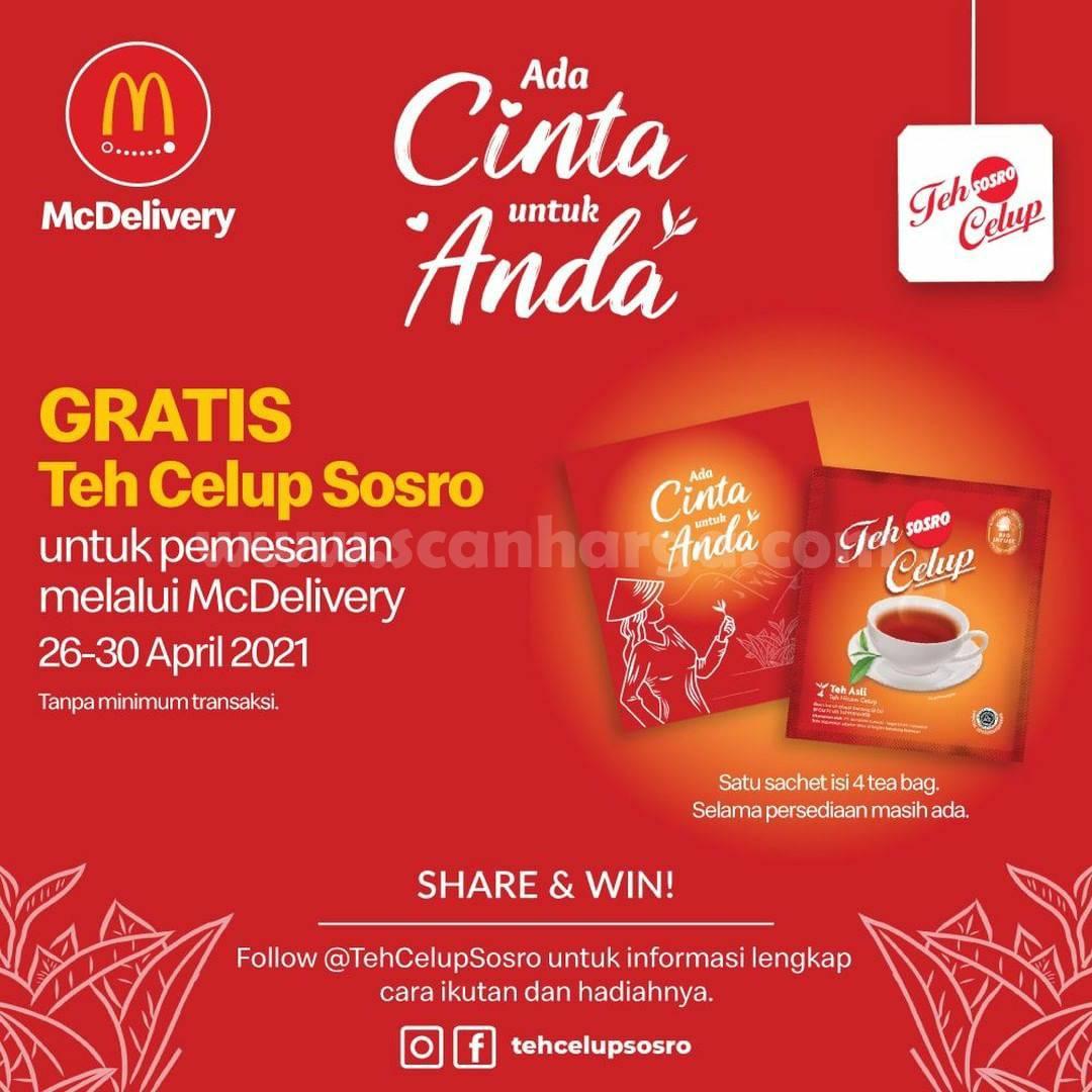 McDonald's Promo GRATIS Teh Celup SOSRO khusus pemesanan via McDelivery