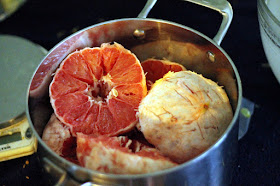 Grapefruit halves, with some stab marks to speed yeast access.