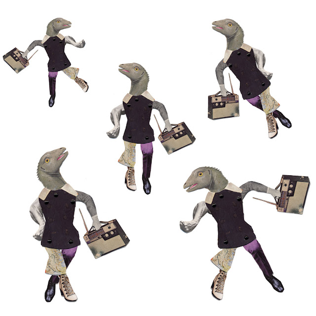 Dancing dino collage