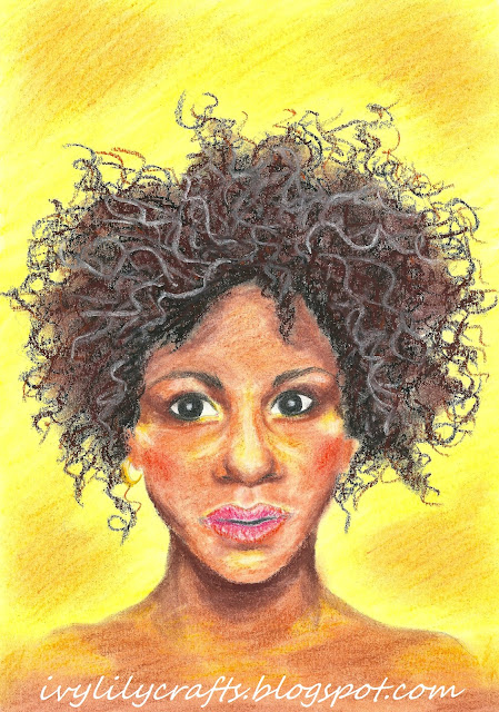 African girl pastel portrait painting