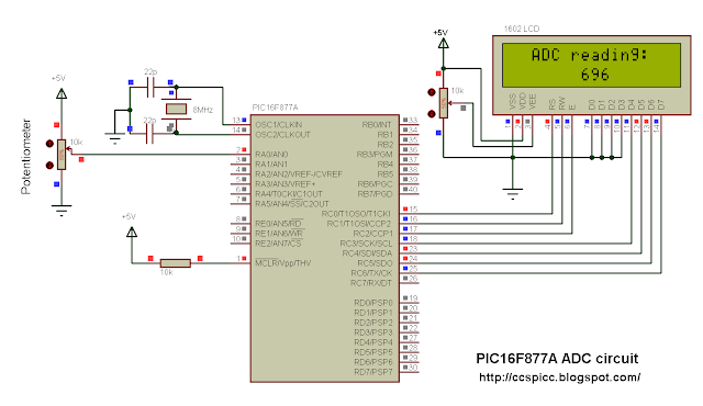 PIC16F877A ADC example circuit with CCS