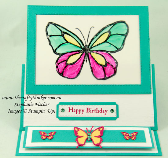 #thecraftythinker #cardmaking #stampinup #beautifulday #funfold #easelcard , Beautiful Day, Fun Fold, Easel Card, adjusting die cutting, colouring rhinestones, Stampin' Up Demonstrator, Stephanie Fischer, Sydney NSW