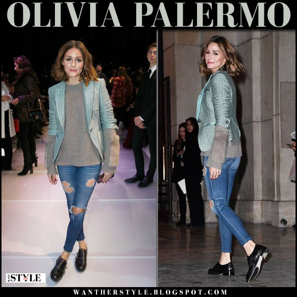Olivia Palermo in green jackete, brown knit agnona sweater and ag jeans paris fashion week january 23