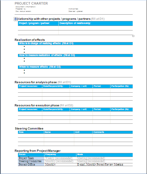 team charter template sample - project management project charter sample 1