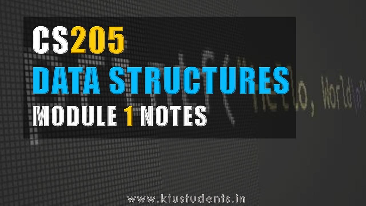 Data Structures CS205 Note-Module 1 | KTU Students