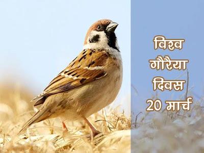 विश्व गौरैया दिवस (World Sparrow Day)  20 मार्च