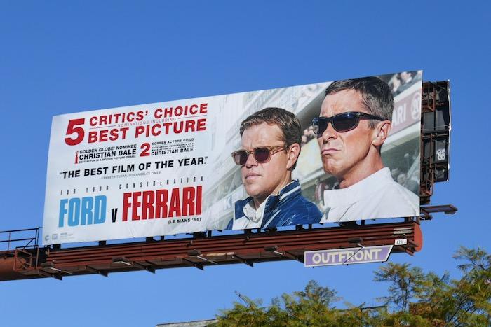 Ford v Ferrari Critics Choice nominee billboard