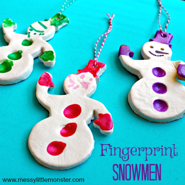 salt dough ornaments - snowman fingerprint ornament - snowman craft