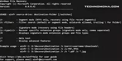 Windows File Recovery tool - technomona.com