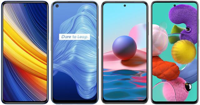 Xiaomi POCO X3 Pro vs Realme 7 5G vs Xiaomi Redmi Note 10 vs Samsung Galaxy A51