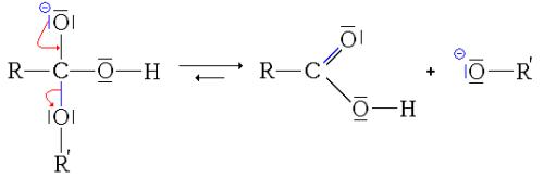 Conversión del acido carboxílico en alcoholato durante saponificación
