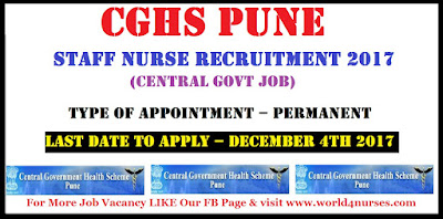 CGHS PUNE  STAFF NURSE GRADE-1 RECRUITMENT 2017 (Central Govt Job)