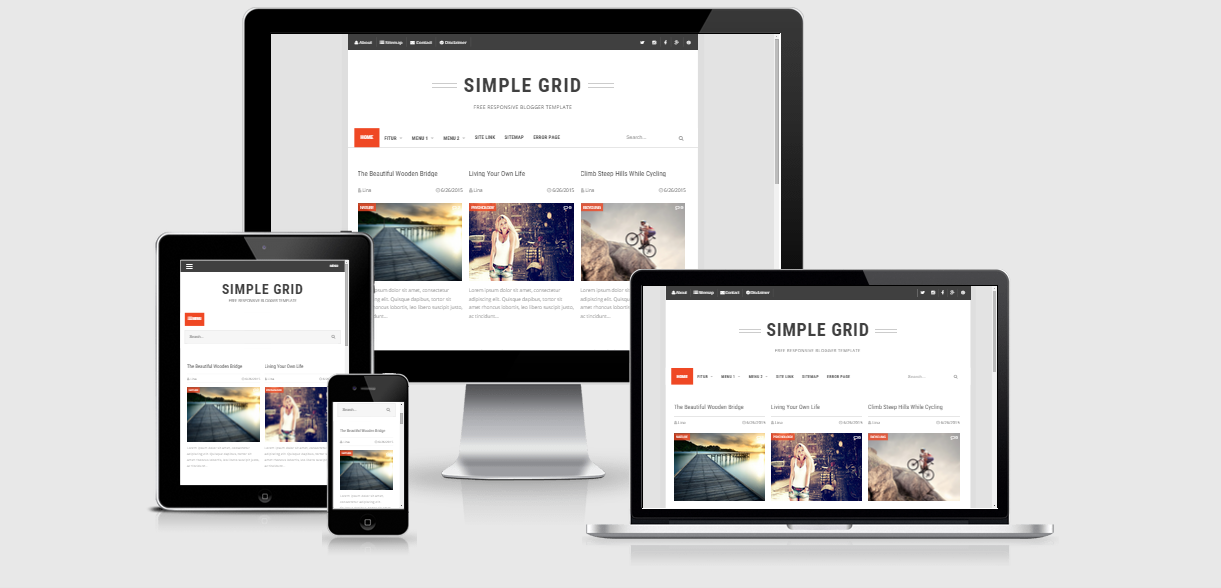Simple Grid Responsive Blogger Template - Arlina Design