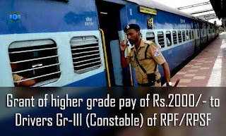 Grant of higher grade pay of Rs.2000/- to Drivers Gr-III (Constable) of RPF-RPSF