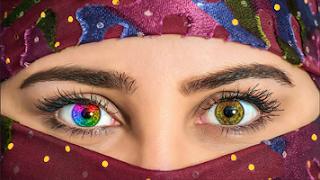 cara mengubah warna mata pelangi dengan photoshop