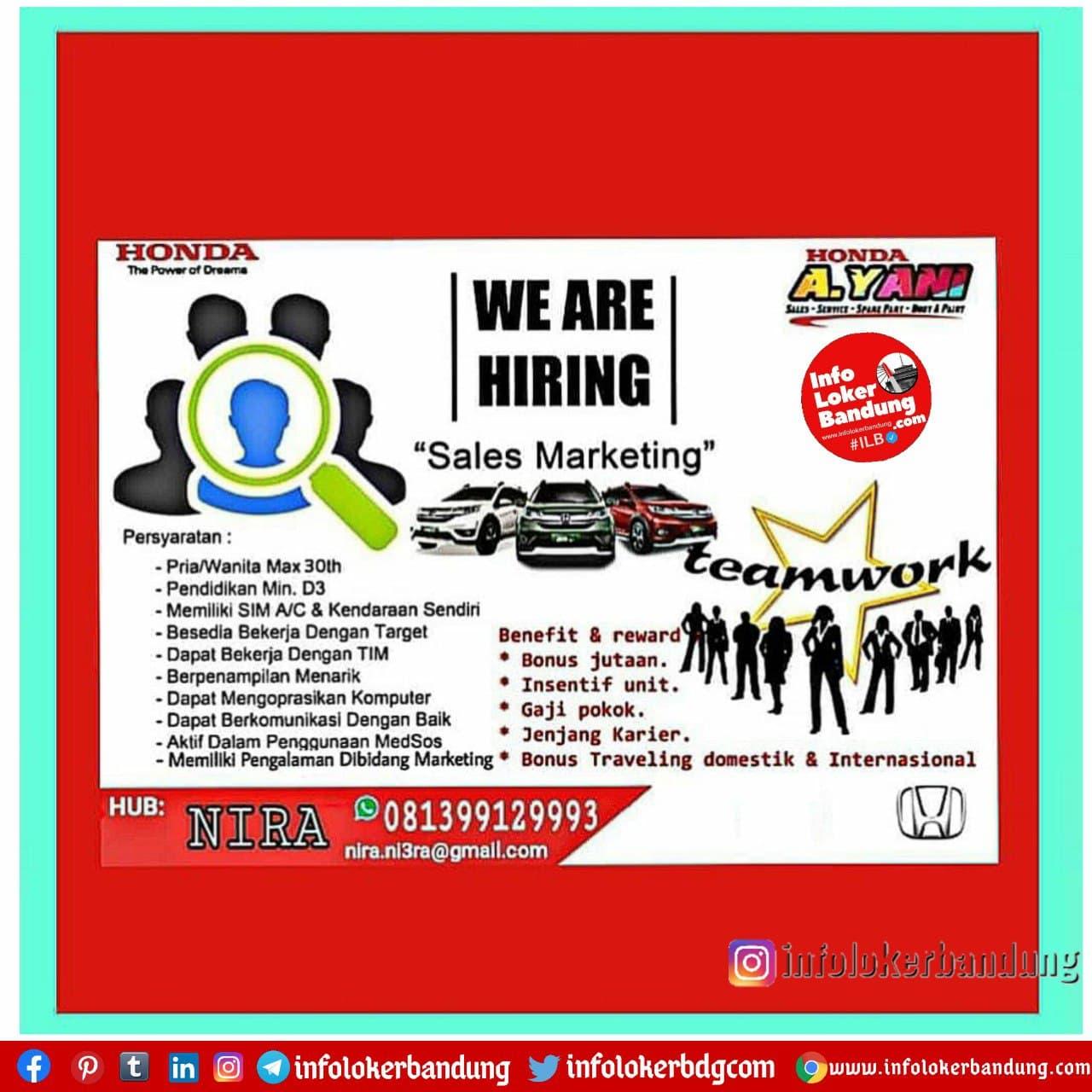 Lowongan Kerja Honda Ahmad Yani Bandung Januari 2021