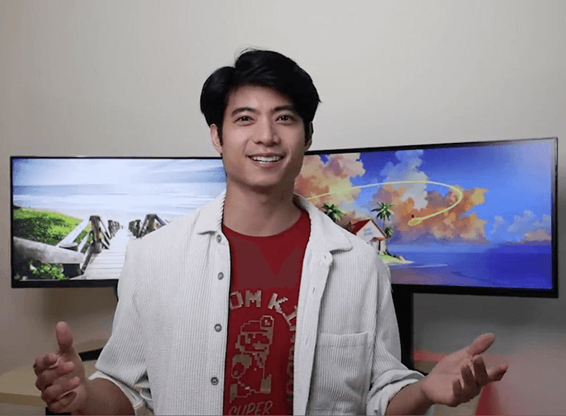 Actor Mikael Daez with the gaming monitors