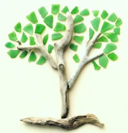 Green Seaglass Tree Art Idea