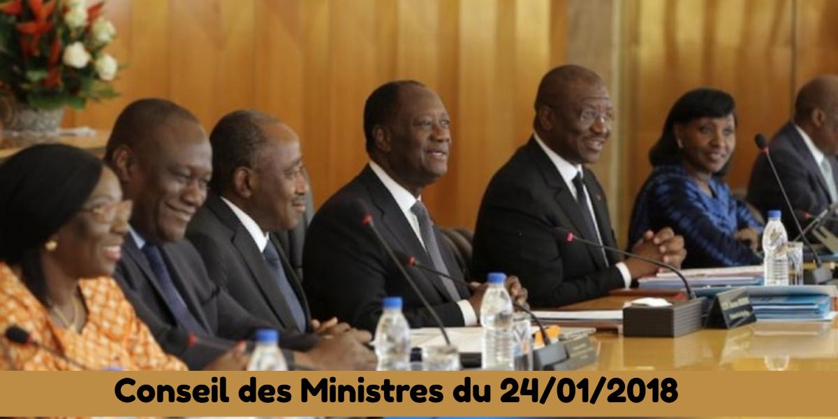 Projets de loi et de décrets adoptés en Conseil des Ministres du 24/01/2018