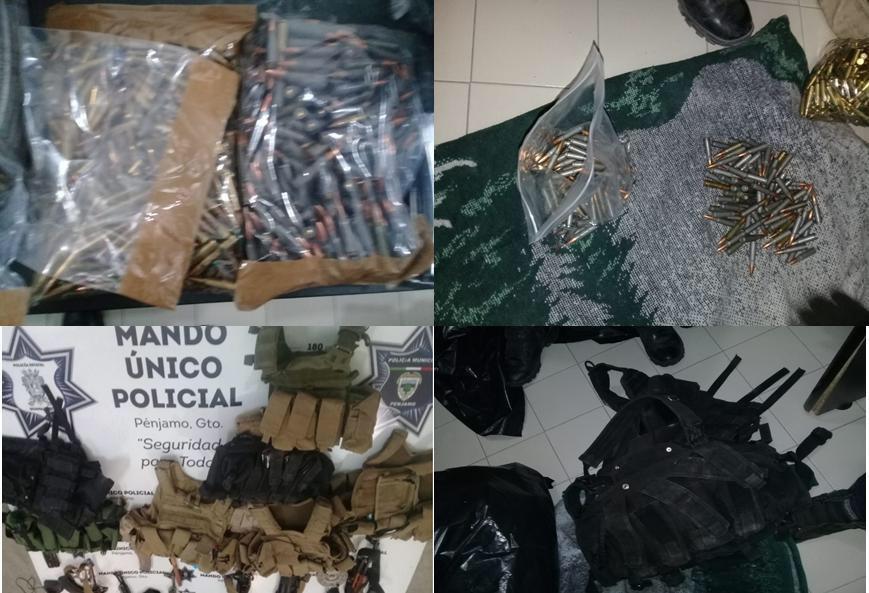 Aseguran arsenal del CJNG en Penjamo Guanajuato