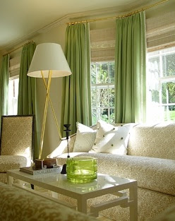 Home Decoration Design: Green Curtain for Living Room
