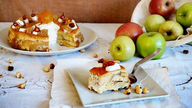 tarantella con manzana y avellanas