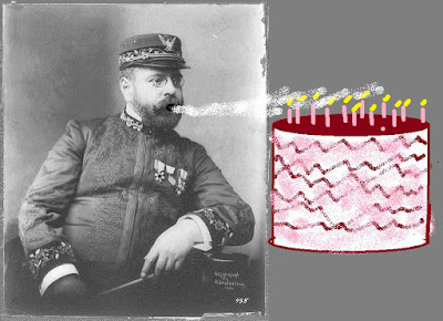 black & white photo of Sousa next to cartoon of cake with candles