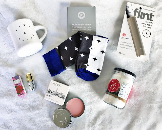 popsugar must have build your own box winkylux bunny rise & shine morning culture mug rockstar socks cargo blush flint lint roller