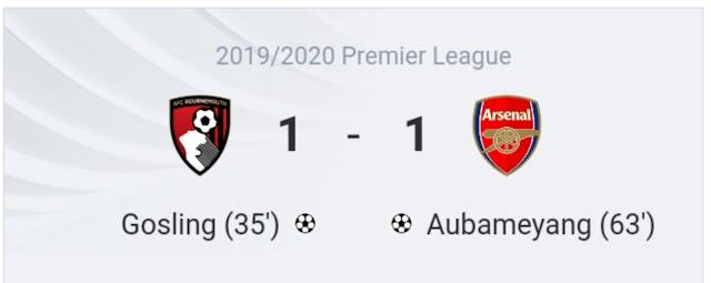 Bournemouth 1-1 Arsenal: Gunners drop points on Arteta debut despite Auba goal
