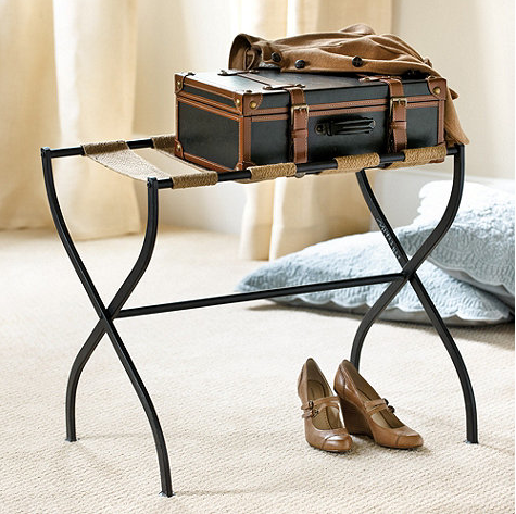 luggage rack for bedroom.  A unique nightstand can also be created with a folding tray table Unique Bedroom Nightstand Ideas Driven by Decor