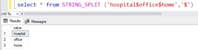 STRING SPLIT Function SQL Server