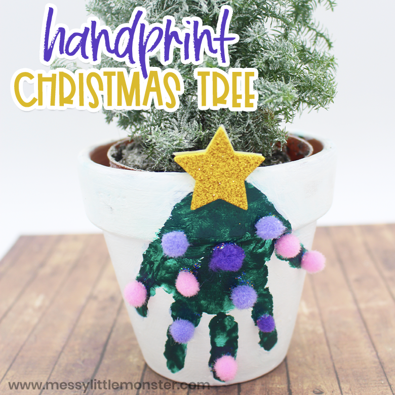 Christmas tree handprint craft for kids