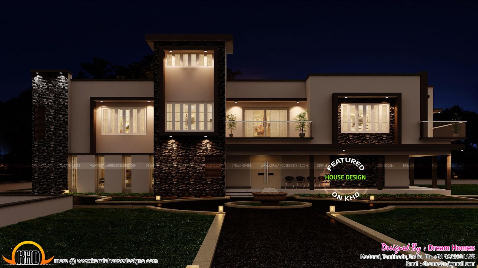 Luxurious contemporary home with 2 car porch kerala home for Car porch design in kerala