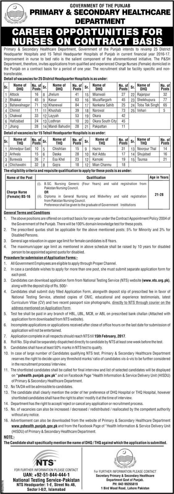 NTS Primary and Secondary Healthcare Department Jobs before 15-02-2017