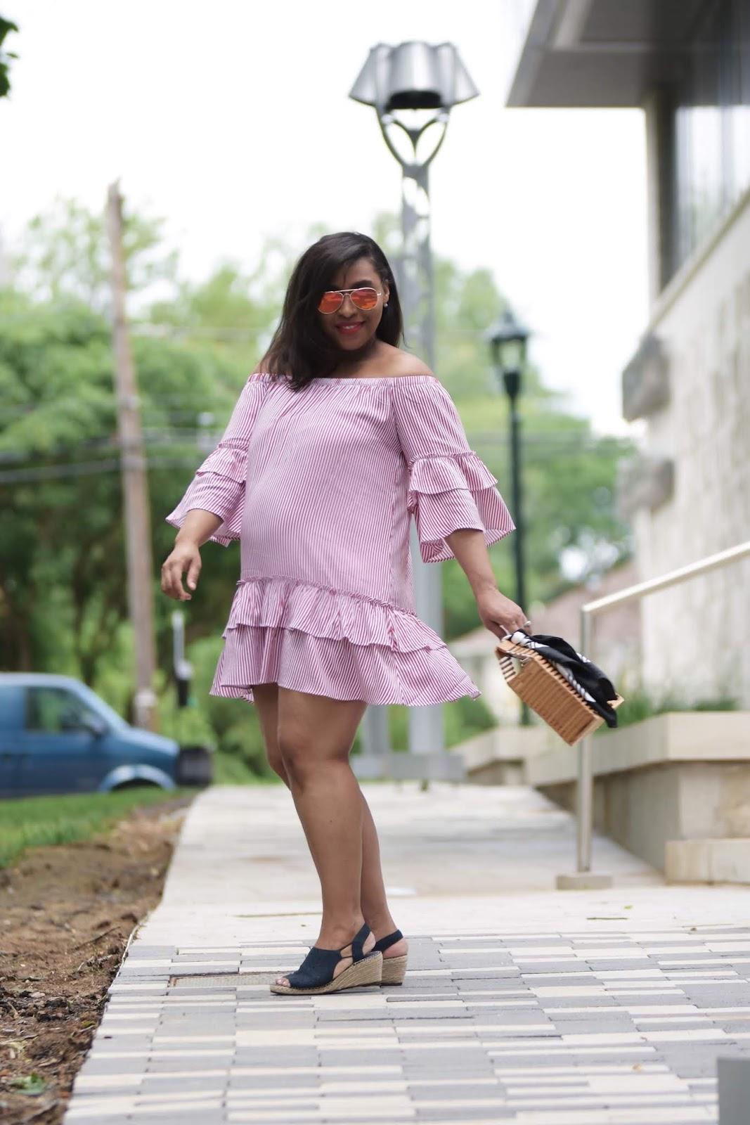 Summer Dresses For Every Budget, mom blogger, summer trends, summer dresses, summer looks, pregnant in heels, ruffle dress