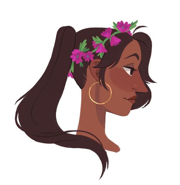 Vector ilustración de mujer morena con coleta y flores