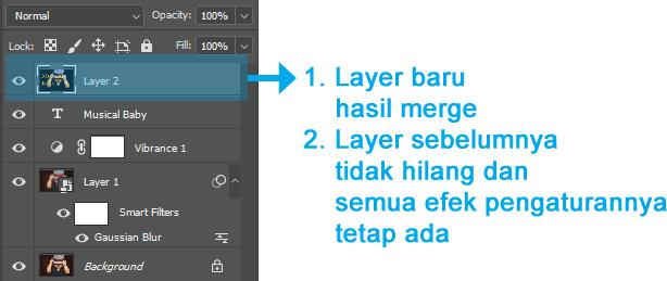 Susunan layer ketika menggunakan Merge Layer di Photoshop