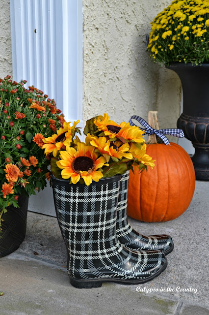 Plaid Boots on Fall Front Porch