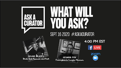 Facebook event graphic for Ask A Curator day 2020. It includes photos of two curators and info for event.